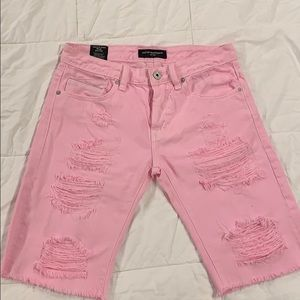 Cult of Individuality Pink Distressed Shorts